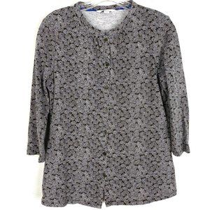 Boden knit top floral print 3/4 sleeve tee